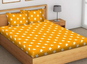 Yellow , Star Printed 100% Cotton Double Bedsheet with 2 Pillow Covers, 144 TC