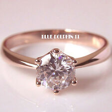 Genuine Real Solid 9K Rose Gold Diamond Ladies Solitaire Engagement Wedding Ring