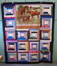 AF0009 Handmade Patchwork Lap LOG CABIN QUILT TOP 52 x 64 HORSES unfinished