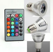 3W E27 Colors Changing RGB LED Light Bulb+IR Remote Control Party Decoration US