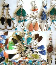 35 PAIRS  EARRINGS Semi precious stones HANDMADE PERU Variety designs colorful