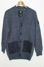 G-STAR RAW ROVIC MENS HEAVY CHAIN KNIT BLUE CARDIGAN WITH 2 FRONT POCKETS SZ L