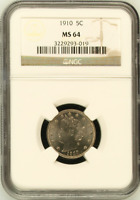 :1910 5C LIBERTY-HEAD NICKEL LOW-POP KEY-DATE LUSTROUS NGC-MS-64 HIGHEST-GRADES