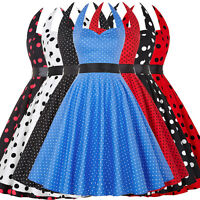 Vintage 50s 60s Polka Dot Cocktail Dress Jive Evening Party Swing Pinup Dresses