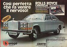 Pubblicità Advertising BBURAGO 1977 Rolls Royce Camargue