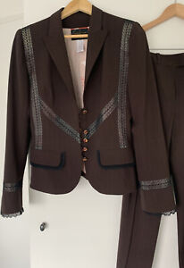 CHRISTIAN LACROIX Pinstripe Lace Wool Pant Suit 38/40 FR WORN ONCE LIKE NEW