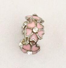 Pink Primrose Flower Cz Spacer Charm For Bracelets Silver Plated