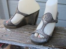 Calleen Cordero Studded T-Strap Platform Wedge Womens US 8 Pewter Silver Leather