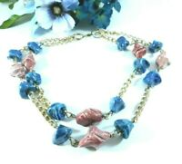 Vintage Beaded Gold Tone Chain Necklace Pink Blue Clay Beads 21 Inches