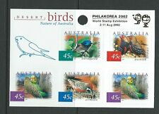 AUSTRALIA 2002 DESERT BIRDS PHILOKOREA OVERPRINT SHEETLET OF 5  UNMOUNTED MINT