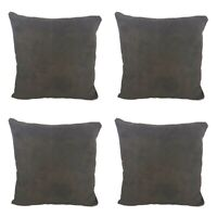 """Set of 4 - Soft Suede Cushion Covers in Plain Mocha Brown 16x16"""""""