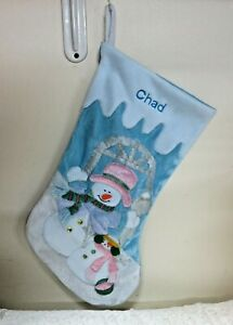 """Monogrammed Chad  Christmas Stocking 18"""" Personalized Gorgeous #20C"""