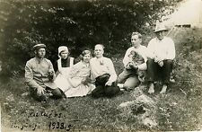 PEOPLE OUTING IN WOODS WITH DOG & ORIGINAL ca 1938 REAL PHOTO POSTCARD