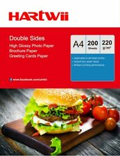 200 Sheets A4 220gsm Double Sides High Glossy Inkjet Photo Paper Printing Hartwi