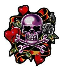 Hearts & Roses Purple Tattoo Skull Embroidered Patch Iron or Sew HLPM22281