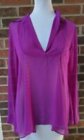 Free People Purple Magenta Sheer Blouse Long Sleeve Collared size XS
