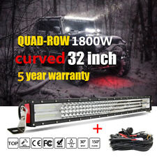 10D Quad Row 32Inch CURVED LED LIGHT BAR Driving Truck Offorad SUV ATV + Wiring