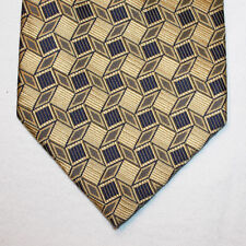 NEW Valerio Garati Silk Neck Tie Metallic Gold w Dark Blue Pattern 1442