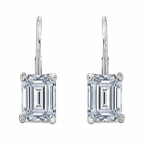 2 Ctw Emerald Earrings Studs Solid 14K White Gold Brilliant Cut Basket LeverBack
