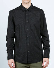 VOLCOM Men's L/S Button-Up Shirt SMASHED STAR - BLK - Large - NWT