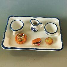 Cakes Tray Set 1/12 Dollhouse Miniature Food Bakery Porcelain Tray Teacups