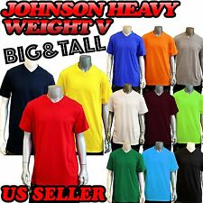 BIG AND TALL Men's  Colors Plain Short Sleeves V-Neck T-Shirts Tee 3X-5X JOHNSON