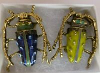 Vintage style crystal insect brooch blue or green enamel bug pin in gift box