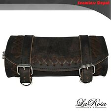 La Rosa Tool Bag Harley Softail Dyna Sportster - Rustic Black Leather Cross Lace