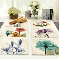 Ink Flower Cotton Linen Insulation Placemat Dining Coffee Table Mat Home Kitchen