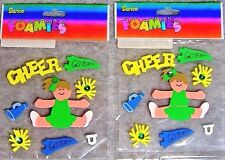 Lot of 2 Packs: Darice Foamies Craft & Scrapbook Stickers - Cheerleader, Go Team