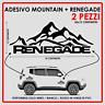 ADESIVO JEEP MOUNTAIN + RENEGADE VINILE NERO / BIANCO / ROSSO 30x15 CM SPAZIATO