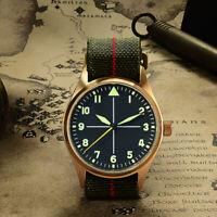 Men Automatic Pilot Watch Cusn8Bronze Wristwatch 20ATM SapphireGlass ST2130 39MM