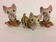 Lot of 3 Tiger Striped Cat Figurine Sugared Spaghetti Fur Japan Kitten