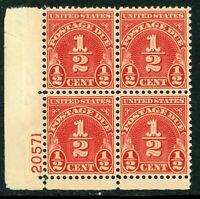 USA 1931 ⭐ ½¢ Postage Due ⭐Scott # J79 ⭐ Plate # Block ⭐MNH⭐B449⭐☀⭐☀⭐