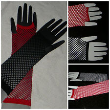 HARLEY QUINN RED/BLACK FISH NET ARM WARMER GLOVES FINGERLESS SUICIDE SQUAD *USA*