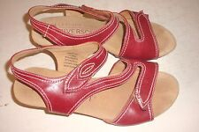 WOMEN'S SHOES-41-RIVERSOFT RED/OPEN TOE/BACK ADJUSTABLE STRAP/LEATHER LINING HEE