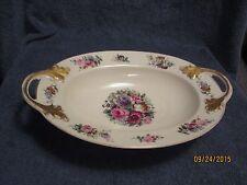 """Vintage Bavaria Oval Serving Bowl Floral Design 32 E Gold Handles + Rim 12"""""""