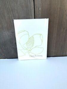 NEW Happy Anniversary Simple Magnolia Flower Greeting Card Unused Blank Card