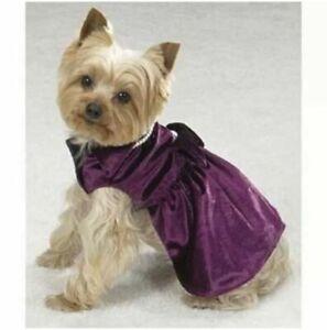 Dog Purple Velvet Dress with Pearls M Medium Dress