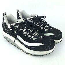 Skechers Shape Ups Womens 9.5 Rocker Soles Black White Leather Athletic Sneakers