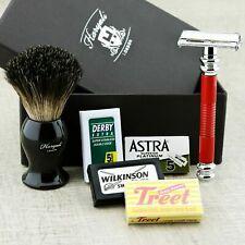 Men's Shaving Kit Twist Open Safety Razor & Badger Shaving Brush + Free Blades