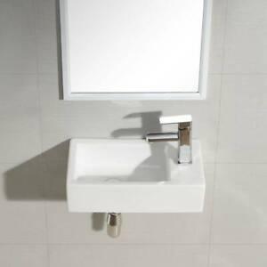 Designed Cloakroom Hand Wash Basin compact Ceramic Small White RH TAP UK