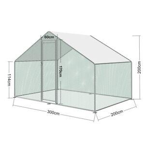 Large Walk in Rabbit Run or Chicken Coop Enclosure 9.8 x 6.6 x 6.6 ft
