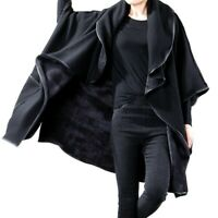Fall Winter Womens Cape Coat Oversize Asymmetric Bat Sleeve Lined Warm Jackets L