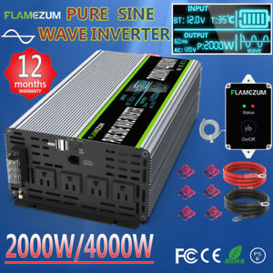DC 12V To 110V 120V Pure Sine Wave Power Inverter 2000W/4000W LCD Display+Remote