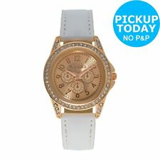 Girl's Tikkers White Strap Rose Dial Watch Set