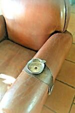 FRENCH 1950s ARMCHAIR / CLUB CHAIR ASHTRAY~LEATHER & METAL~TRULY UNIQUE VINTAGE