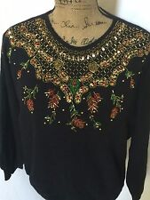 Holiday Christmas Dana Scott Womens Sweater Size L Beaded and Sequined