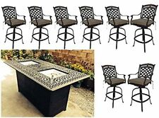 Bar height fire pit dining table 9 piece set cast aluminum patio furniture