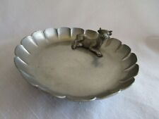 """New listing Vintage Wallace Pewter Cow Figure Round Trinket Dish 5"""" 060"""
